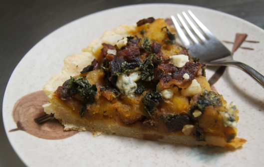 Acorn Squash Tart with Arugula and Bacon