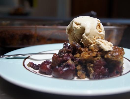 cherry cobbler with molasses ice cream